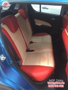 Bộ áo ghế ô tô màu đỏ viền trắng cá tính, thể thao 044