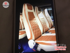Bộ áo ghế ô tô 131a màu nâu kết hợp màu trắng