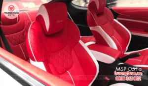 Bộ áo ghế da cao cấp xe Huyndai Geneses màu đỏ phối trắng 51
