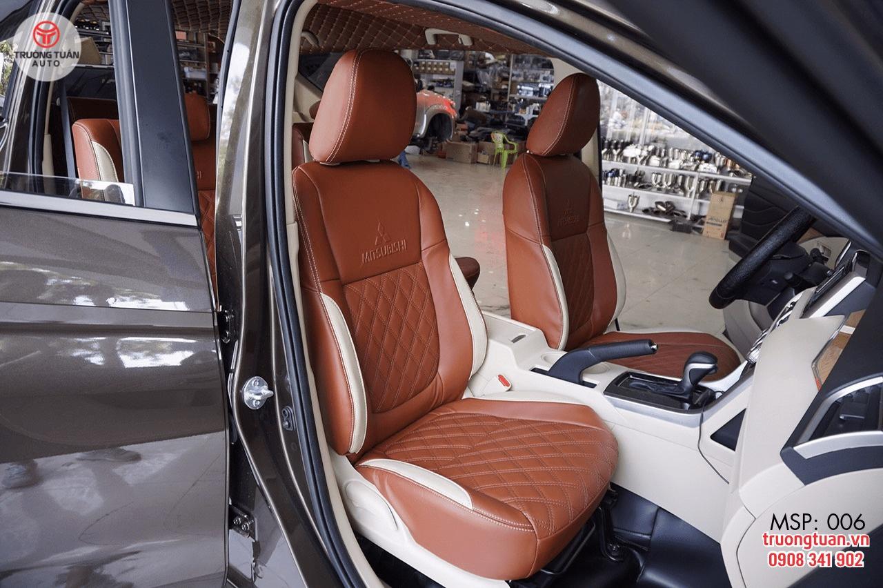 Bộ áo ghế ô tô 006 màu nâu kết hợp màu trắng